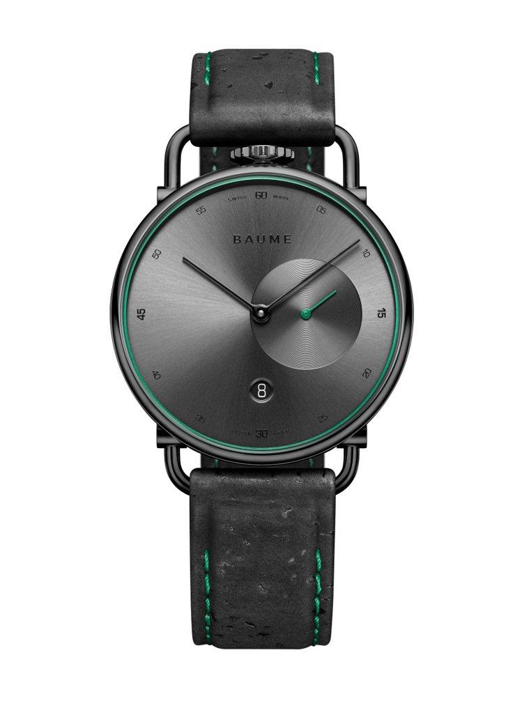 名士子品牌BAUME將煙灰色以綠色小秒針點綴、神來一筆畫龍點睛。圖 / 名士表提...