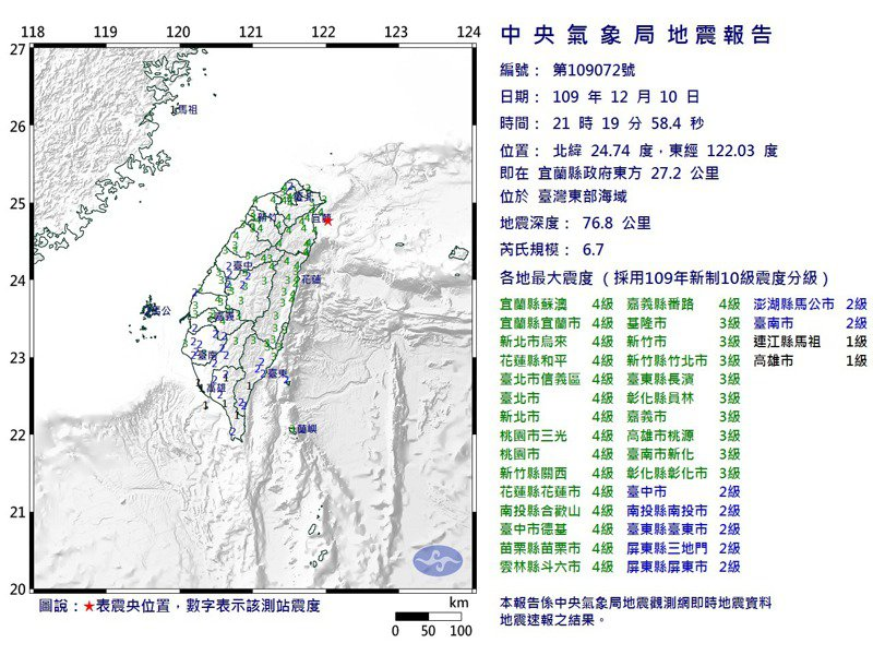 昨天晚間規模6.7地震,是今年最強震。圖/氣象局提供