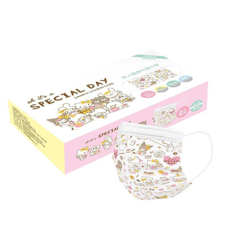 三麗鷗醫療口罩-Mix Party成人款25片盒裝,售價289元,屈臣氏12月16日限量開賣、售完為止。圖/屈臣氏提供