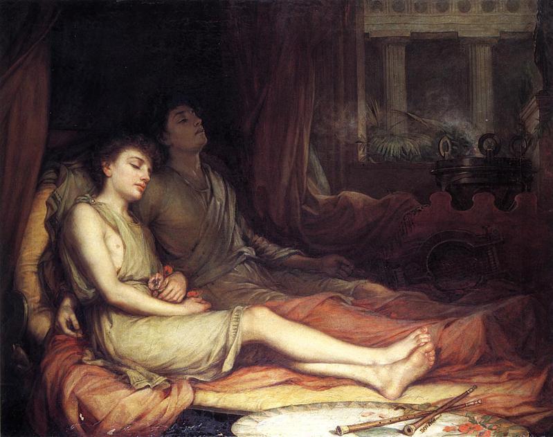 希臘神話中的睡眠之神與他的孿生兄弟死神。John William Waterhouse,《Sleep and his Half-brother Death》,1874。來源:維基百科「John William Waterhouse」條目