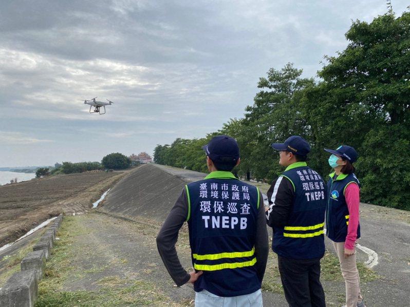 台南市環保局透過無人機輔助,揪不法,改善空氣品質。圖/南市環保局提供