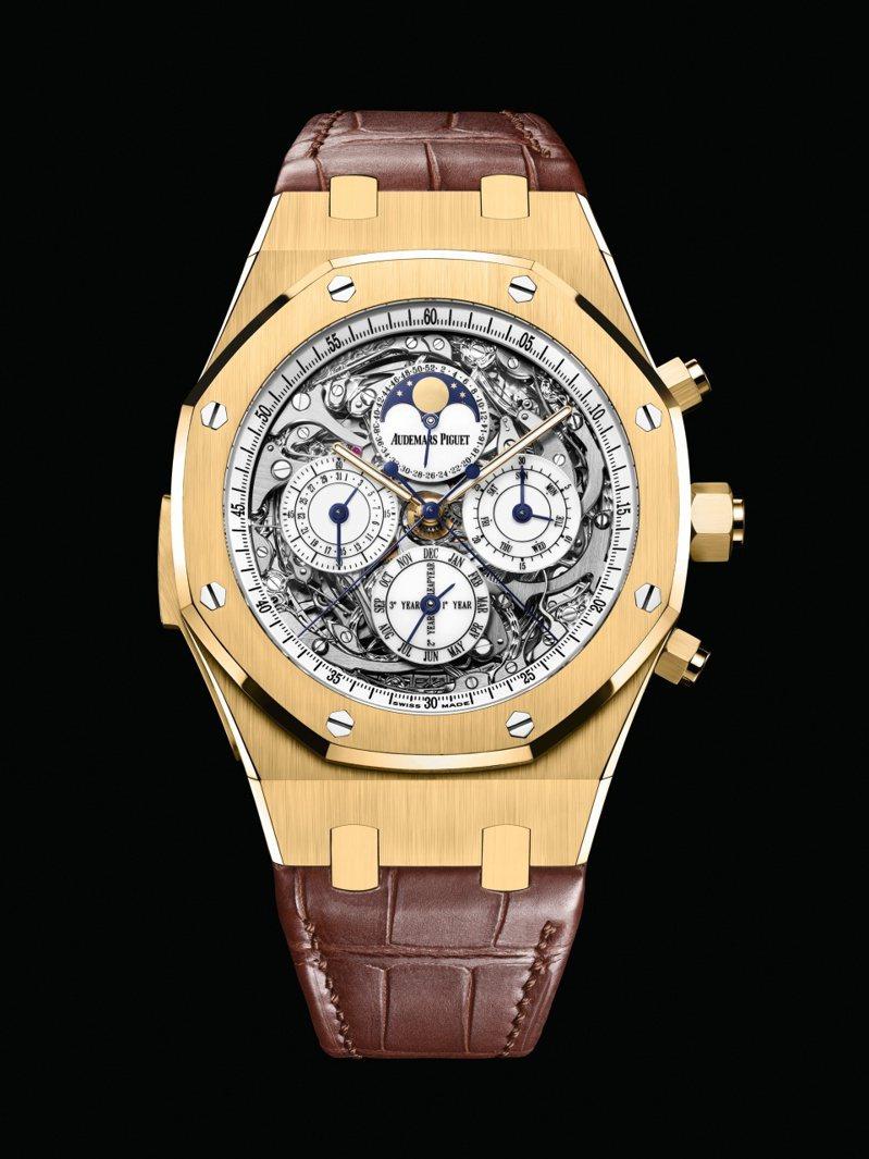 愛彼皇家橡樹鏤空大複雜功能腕表(26065BA.OO.D088CR.01),具備萬年曆、超問報時功能,本次拍賣另有一只玫瑰金款。圖 / Audemars Piguet提供。