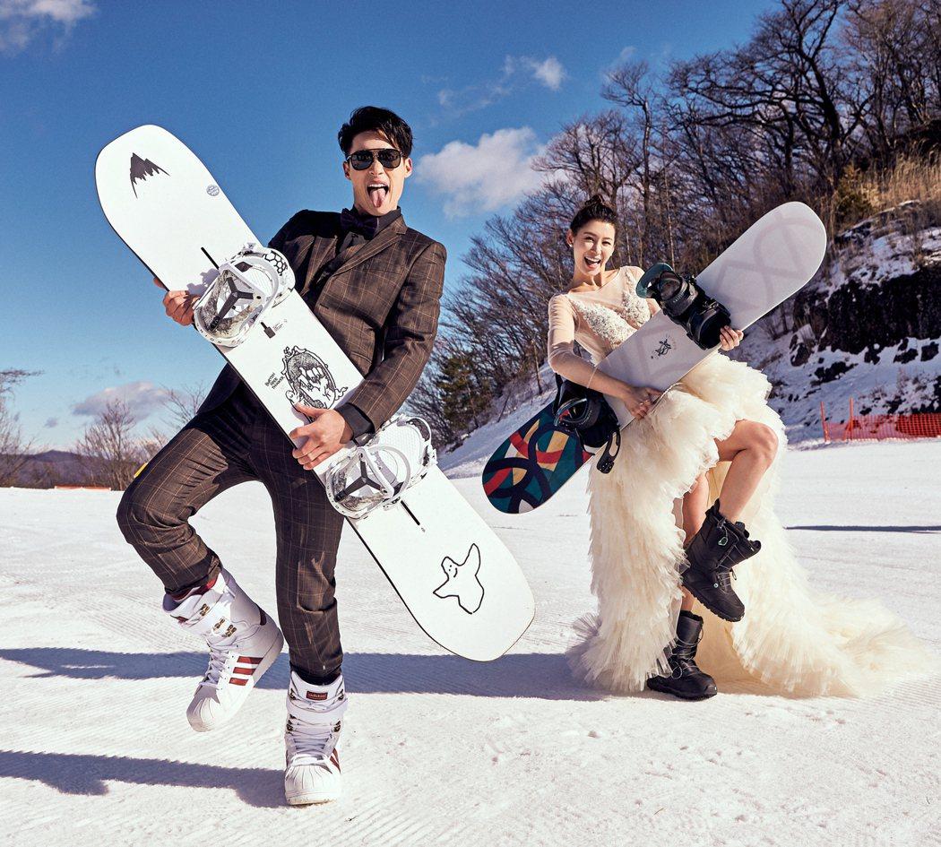 許孟哲和趙孟姿不畏低溫拍出滑雪婚紗照。圖/永恆婚顧提供