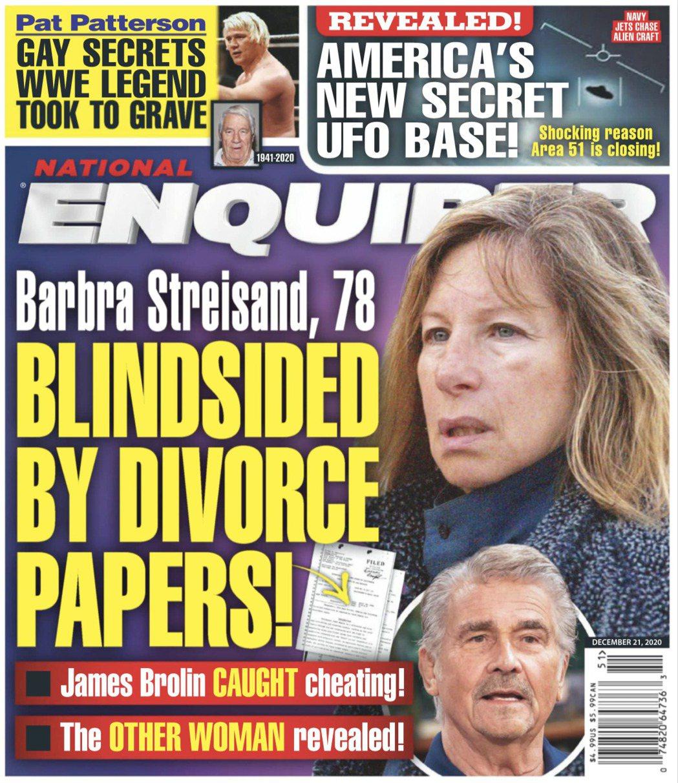 芭芭拉史翠珊(上)與詹姆斯布洛林(下)的婚姻被唱衰。圖/摘自National E