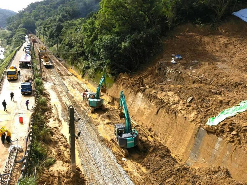 台鐵瑞芳—猴硐12月4日因連日大雨造成大規模坍方,日夜連續趕工。圖/台鐵提供