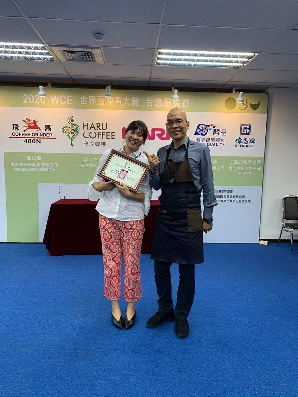 尊任咖啡於出賽2020WCE世界盃沖煮大賽台灣選拔賽,榮獲優勝。 尊任咖啡/提供