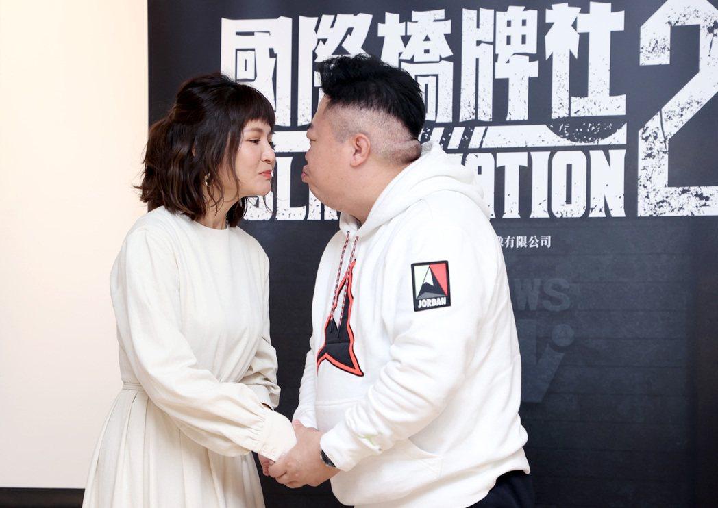 吳怡霈(左)、董至成在「國際橋牌社2」中有吻戲。記者余承翰/攝影