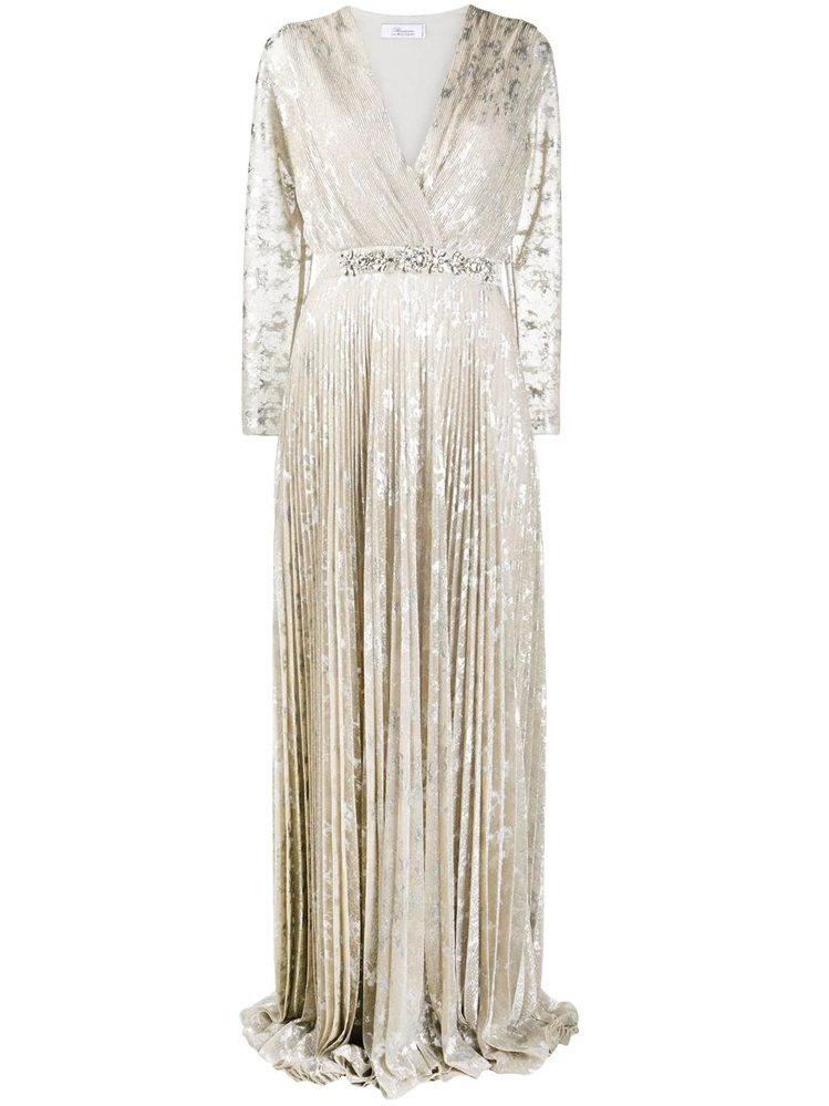 金色絲光絨布長禮服,105,000元。圖/Blumarine提供