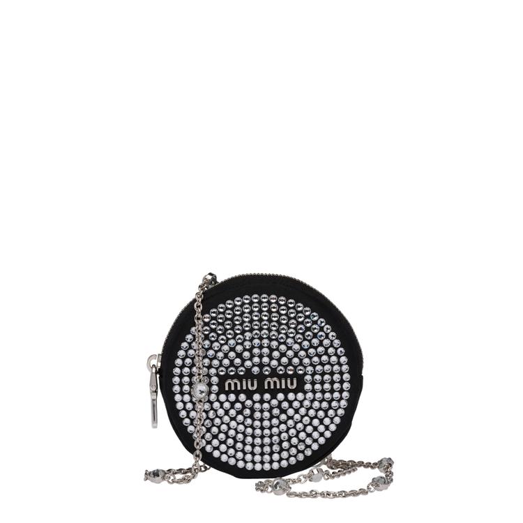 水晶綴飾圓形肩背包,19,000元。圖/Miu Miu提供