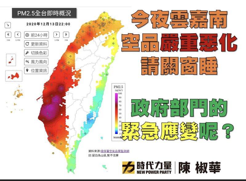 立委陳椒華在臉書上批評政府不重視空汙紅害。圖/取自臉書
