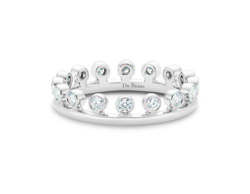 DE BEERS Dewdrop 18白金單行鑽石戒指,66,000元。圖/DE...