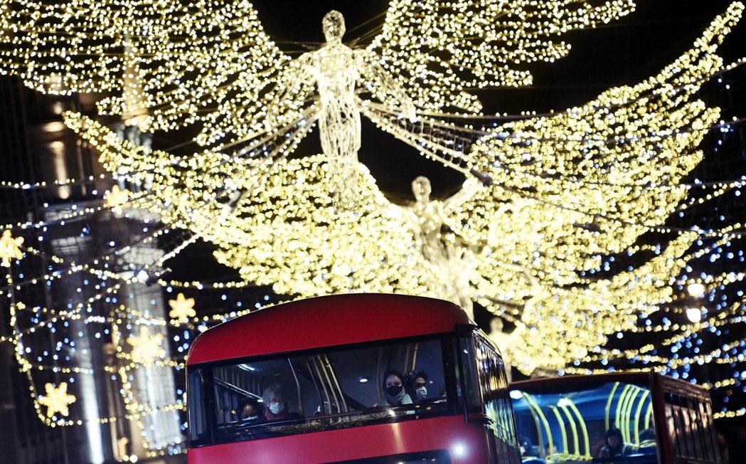 今年12月依舊有耶誕節氣氛的倫敦。 圖/歐新社