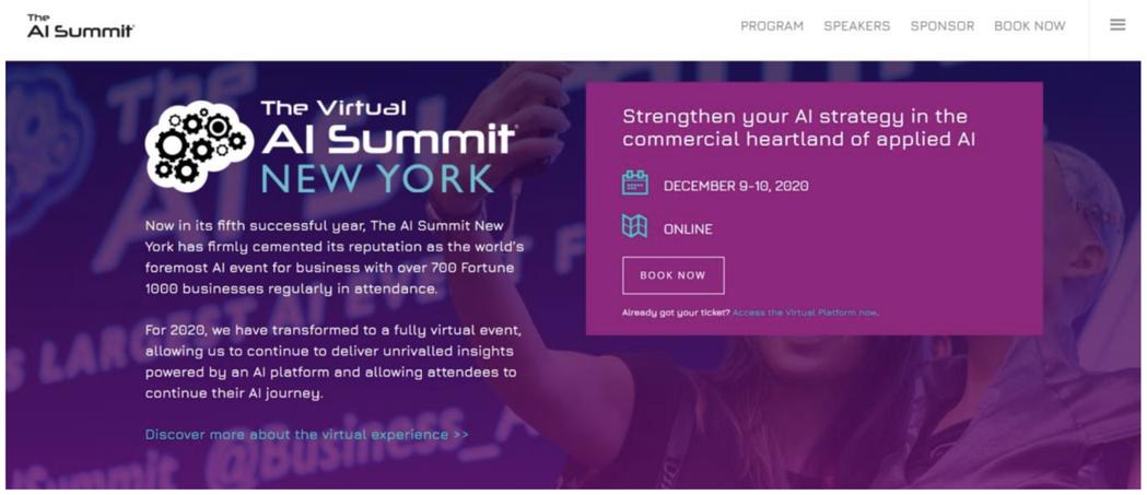 「The Virtual AI Summit New York」線上官網。 臺北...