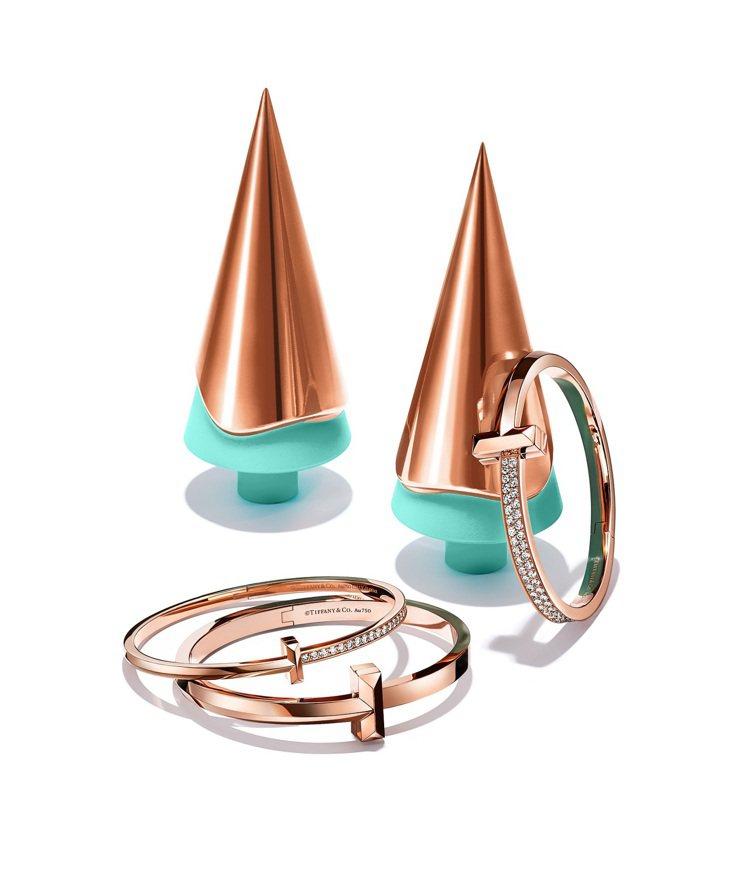 Tiffany T1 18K玫瑰金手環,33萬5,000元起。圖/Tiffany...