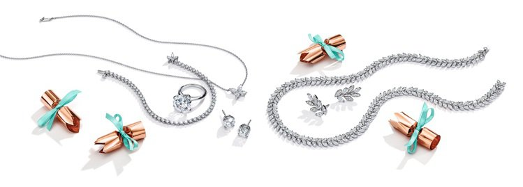 Tiffany鉑金鑲鑽鍊墜、耳環與戒指,價格店洽。圖/Tiffany提供