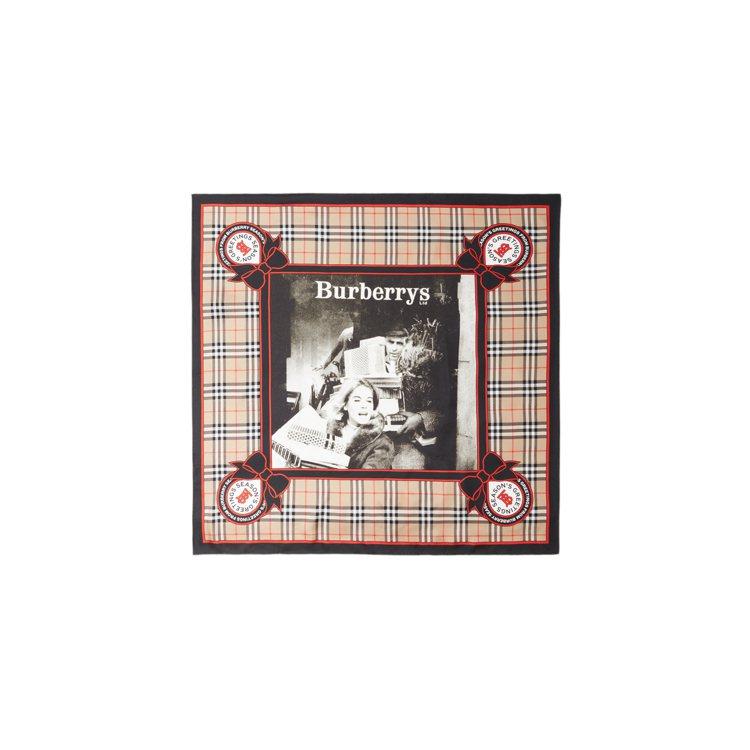 BURBERRY典藏廣告印花絲綢方巾,15,200元。圖/BURBERRY提供