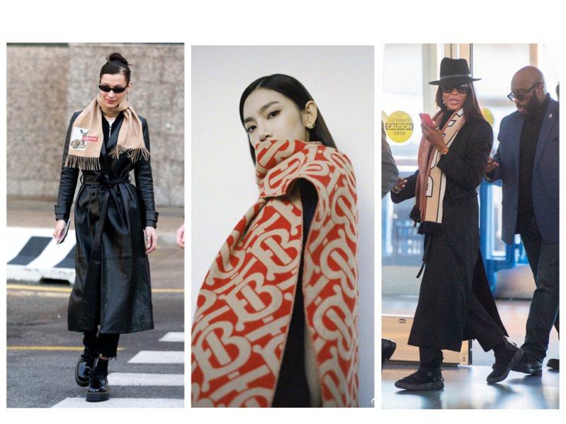 明星熱愛的BURBERRY圍巾推出冬日新款。圖/取自微博、BURBERRY提供