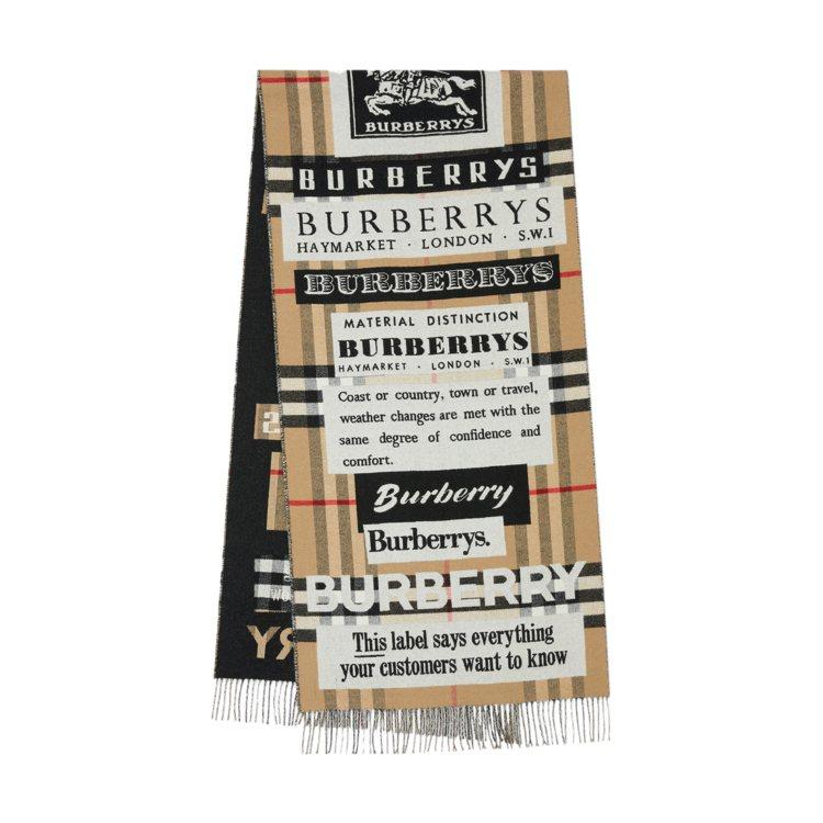 BURBERRY典藏徽標喀什米爾緹花圍巾,28,900元。圖/BURBERRY提...