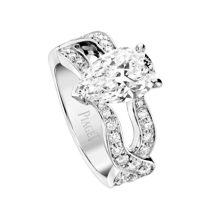 PIAGET Jardin Secret 鉑金高級珠寶鑽石戒指,主石為水滴形切割...