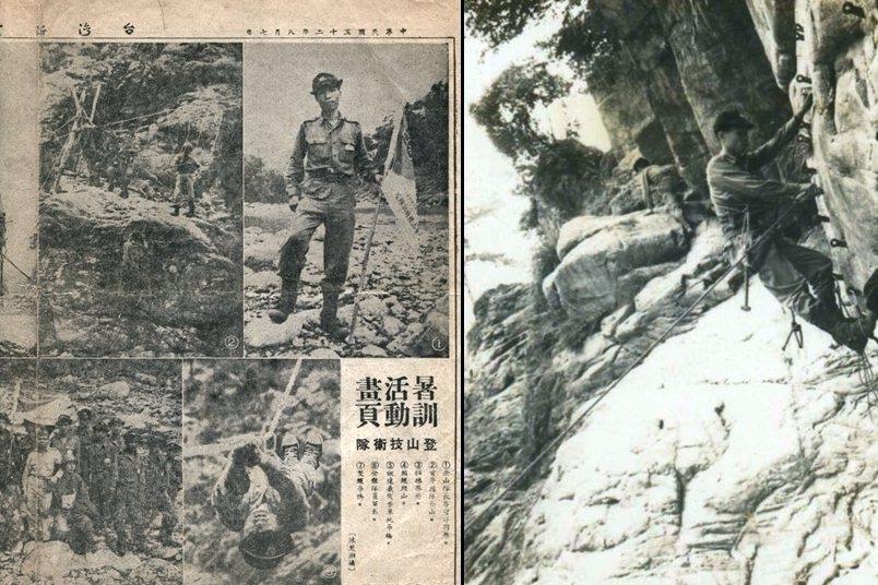 左圖:1963年李哲洋參加救國團「高山暑訓活動」並擔任「登山技術隊」小隊長的剪報留影;右圖:1964年李哲洋參與救國團在台中谷關舉辦「登山特技隊」培訓,完成高難度的攀岩訓練。   圖/李立劭提供
