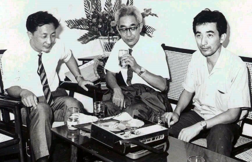 左起史惟亮、岸邊成雄、許常惠,攝於1967年。 圖/聯合報系資料照