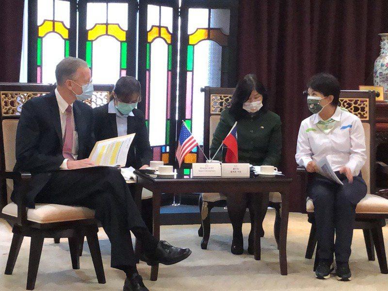 美國在台協會(AIT)處長酈英傑(左)今拜會台中市政府,市長盧秀燕(右)致詞時當著酈英傑與媒體記者的面公開表示「台中堅持萊豬零檢出」。 記者陳秋雲/攝影