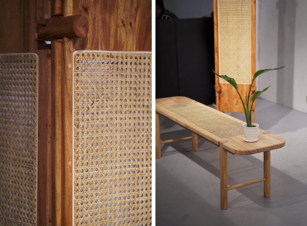 楊子賢的作品「TYLC」長凳與屏風的不同機能同時存在,苦楝木、桃花心木搭配藤編工...