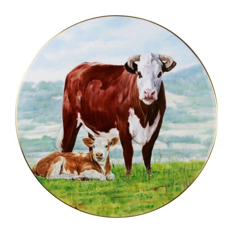 Noritake手繪圓滿牛-圓盤25cm/28萬元。圖/旺代提供