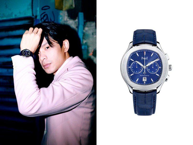 金鐘視帝姚淳耀先前出席「返校」影集開播記者會時,戴上了精鋼、藍色表面的Polo S計時碼表,一盞率性風采。圖 / PIAGET提供。