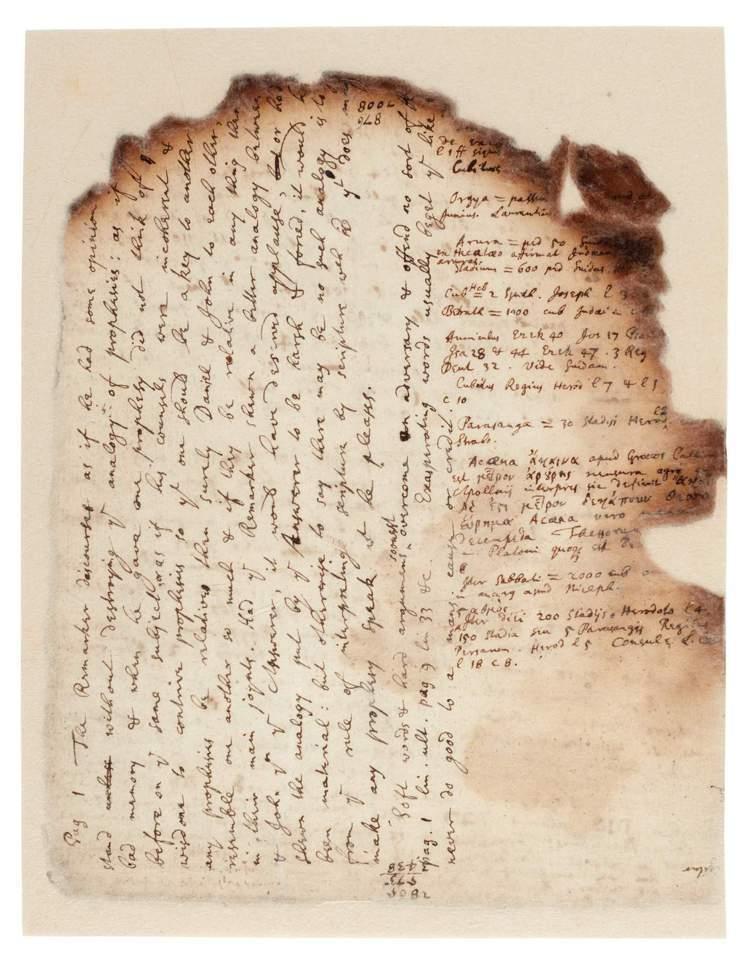牛頓親筆手稿,內容為埃及金字塔相關研究,約1680年。圖/蘇富比提供