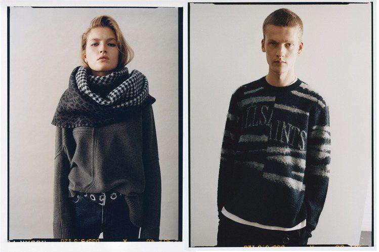 英倫品牌AllSaints在冬季系列中,加入了部分回收再利用的棉花、羊毛等素材,...