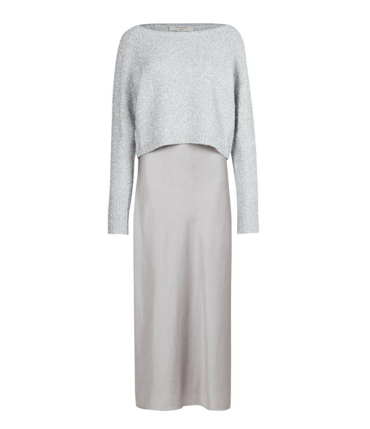 AllSaints Rosetta金屬質感兩件式長洋裝11,200元。圖/All...