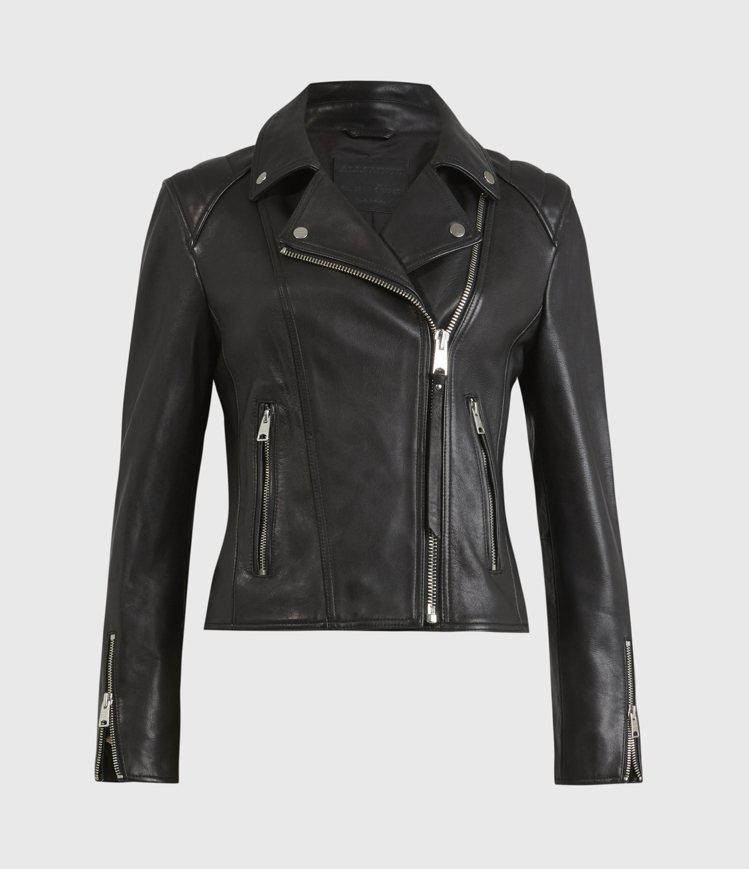 AllSaints Neve修身短版騎士皮夾克19,700元。圖/AllSain...