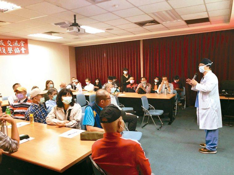 中華民國無喉者復聲協會與高雄榮總合作開設食道語班,南部無喉者可就近學習。記者王昭...