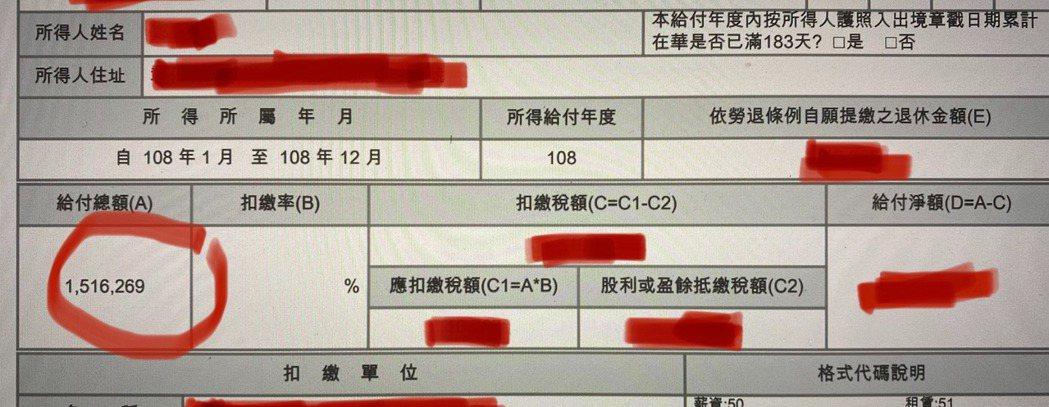 網友貼出稅單證明年薪150萬。圖/批踢踢實業坊