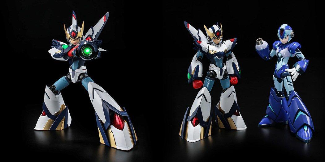 由著名的玩具品牌「千值練」所推出的兩款洛克人 X 可動玩具,圖片左方在 X5 登...