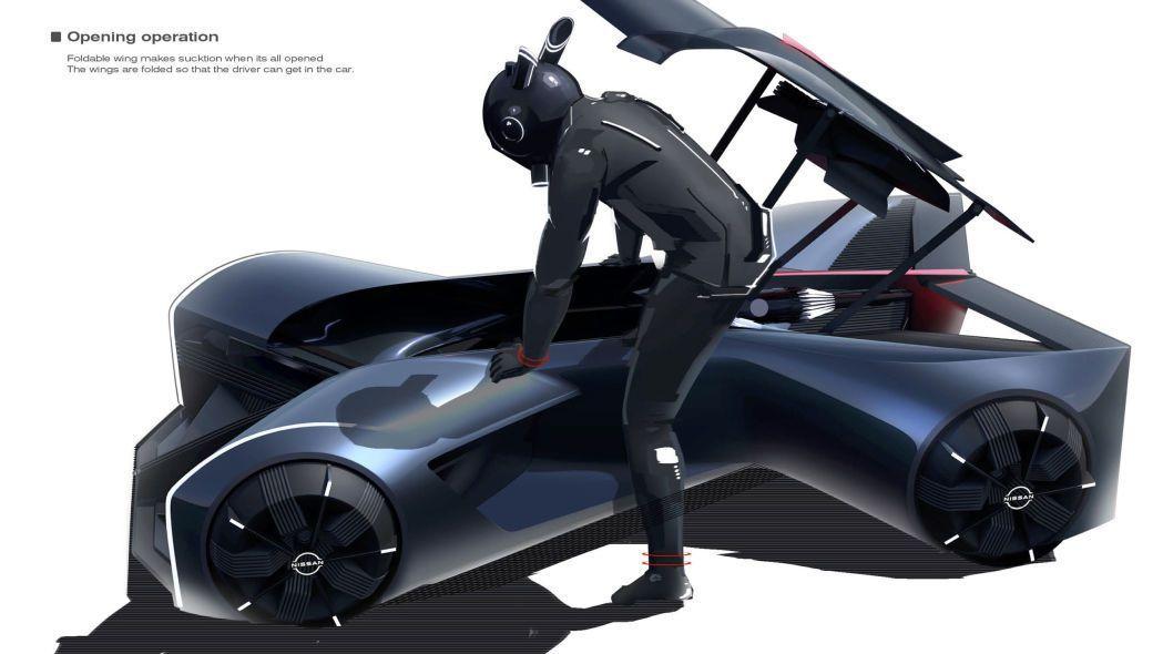 Nissan GT-R (X) 2050駕駛必須穿戴特殊服裝用趴的姿勢操控車輛。...