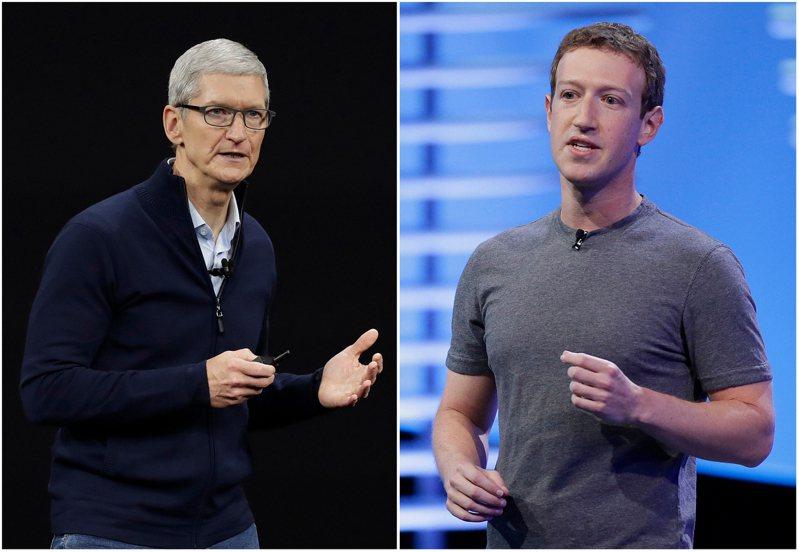 脸书十六日在美国三大报纸刊登全版广告,批评苹果公司的新应用程式扼杀小企业。图为苹果执行长库克(左)及脸书执行长祖克柏。(美联社)(photo:UDN)