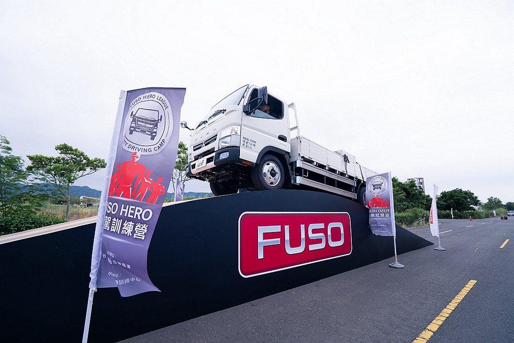 2020年10月FUSO商用車安駕訓練營資料照片—載重時斜坡安全起步要領。 圖/...