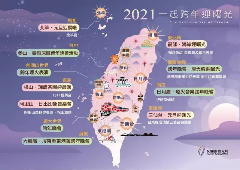 2021一起跨年懶人包,一張圖清楚明白。 圖/交通部觀光局提供
