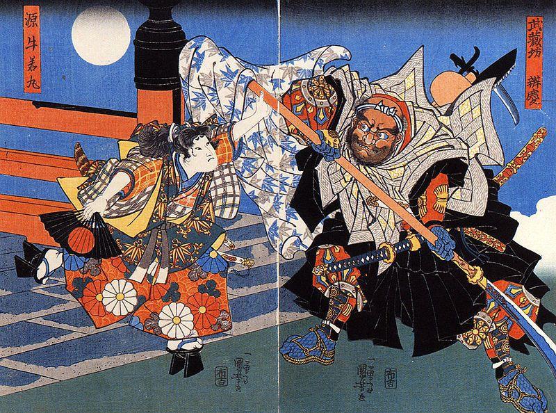 歌川國芳所繪,弁慶與義經在五條大橋上大戰。 圖/維基共享