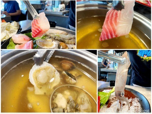 將鮮蚵、蛤蜊、鯛魚、鮪魚、小卷、鮮蝦放入鍋中熬煮,原本原味的昆布湯頭頓時無比鮮甜,湯頭風味變更濃了!