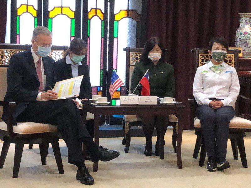台中市長盧秀燕(右)當面向A IT處長酈英傑(左)表達反對美國萊豬進口立場,遭AIT以一紙強硬聲明譴責。圖/聯合報系資料照片