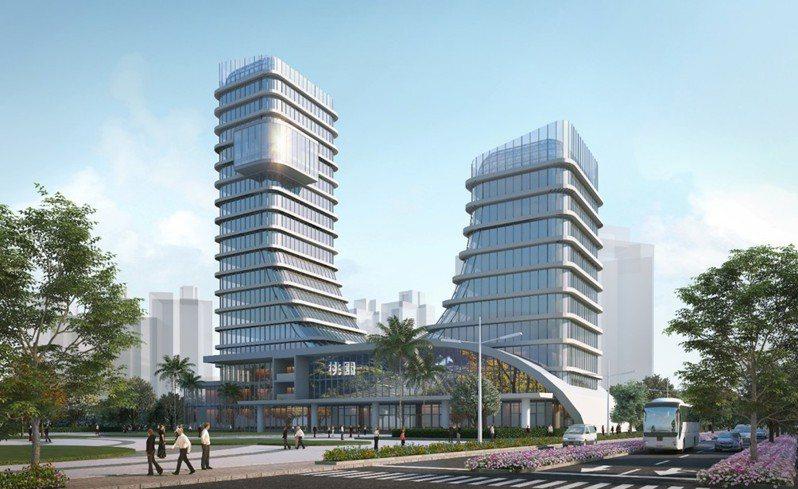 桃園市政府將在中壢青埔地區打造亞洲.矽谷創新研發中心,目標興建一棟地下2層、地上10層以上的雙塔建築物。圖/桃園市工務局提供