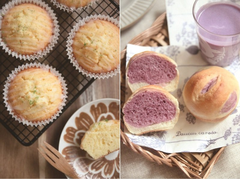 用馬芬杯就能簡單做出的點心:檸檬優格蛋糕(左)、紫薯雙色麵包(右)。圖/橘子文化 提供