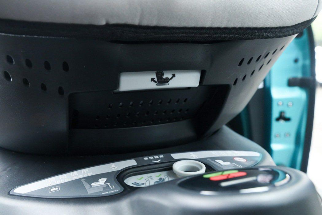在汽座上就有標明「6段背靠調整設計」的使用方式,父母可直接調整背靠角度。 記者吳...