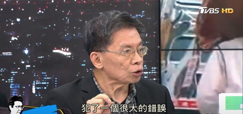 沈富雄昨天在政論節目《少康戰情室》中評論蘇偉碩醫師的事件。圖/翻攝自《少康戰情室》youtube
