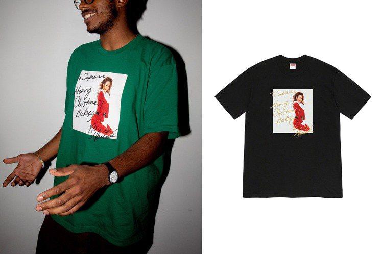 潮牌Supreme與天后瑪麗亞凱莉合作,特別在冬季系列中,添加了一款限定版的T恤...