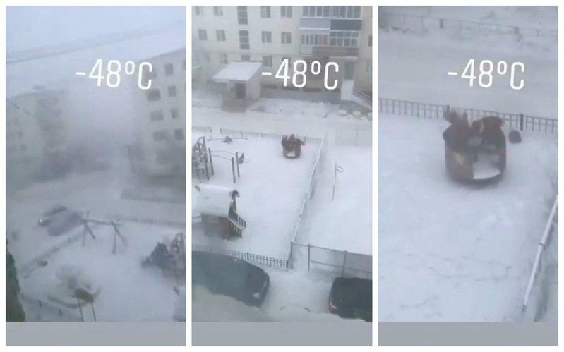 俄罗斯西伯利亚东部城市雅库茨克是全世界最冷的城市,气温近日降到符合停课标准的摄氏零下48度,却有小朋友丝毫不畏寒,直接跑到户外的露天公园玩耍。画面翻摄:Twitter/Djiikey&The Siberian Times(photo:UDN)