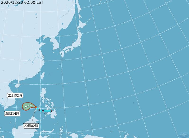 位於菲律賓西方海面的熱帶性低氣壓,位於菲律賓西方海面,向西北西移動,時速24公里,有發展為輕度颱風的趨勢,對台灣天氣沒有直接影響。圖/取自氣象局網站